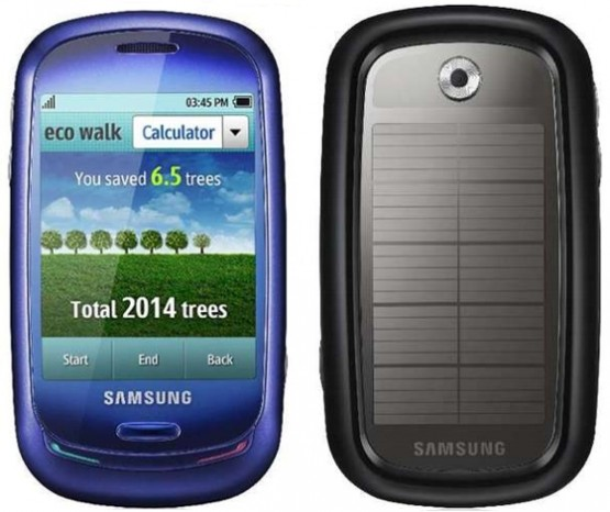 Samsung Blue Earth features a solar panel for Charging