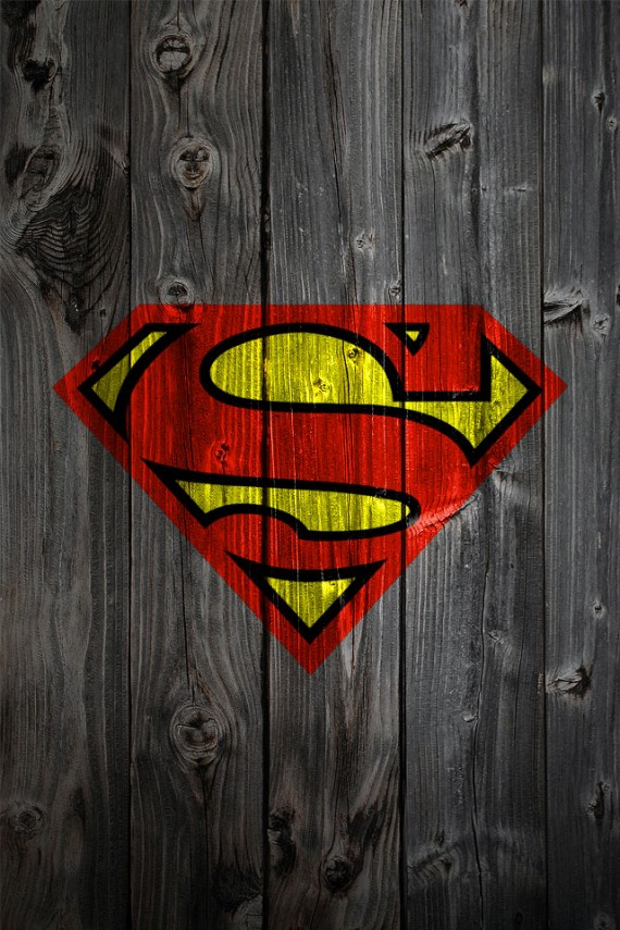SuperMan Logo on Wood Wallpaper