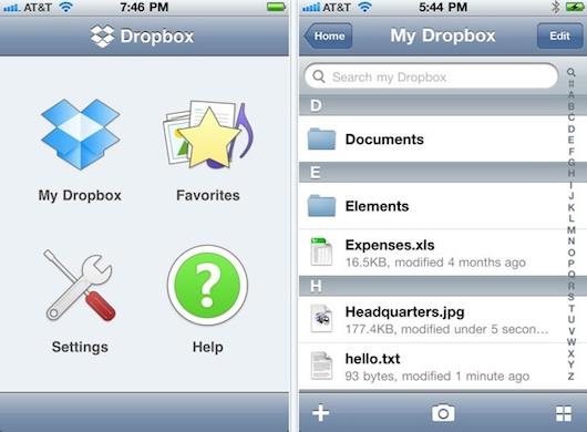 dropbox iphone app