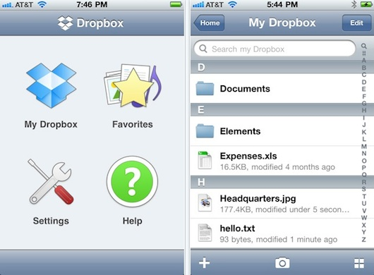 dropbox iphone app