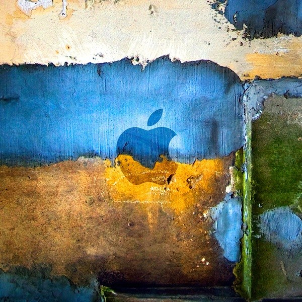 apple logo concrete