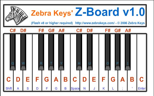 Zebra Keys Online Piano Keyboard