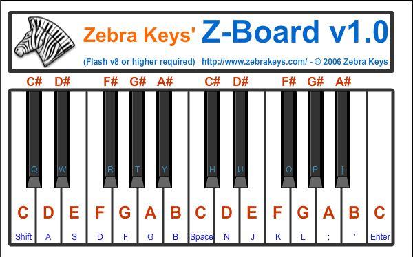 Zebra Keys Online Piano Keyboard