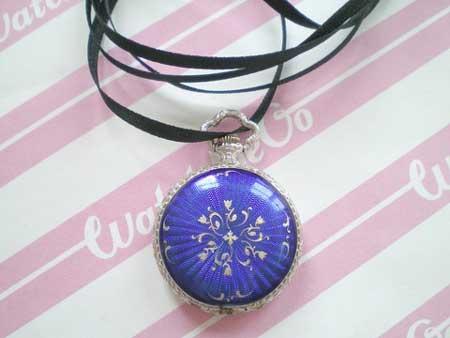Le Paix Blue Enamel Strapless Watch