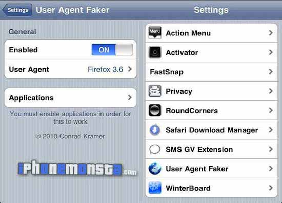 User Agent Fakers for iPhone