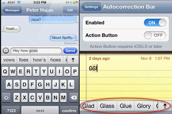Autocorrection Bar Cydia