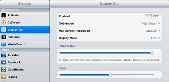 DisplayOut Cydia App Tweak