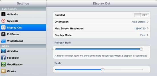 DisplayOut Cydia App Tweak