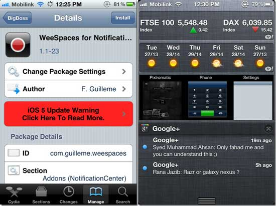 WeeSpaces Cydia App