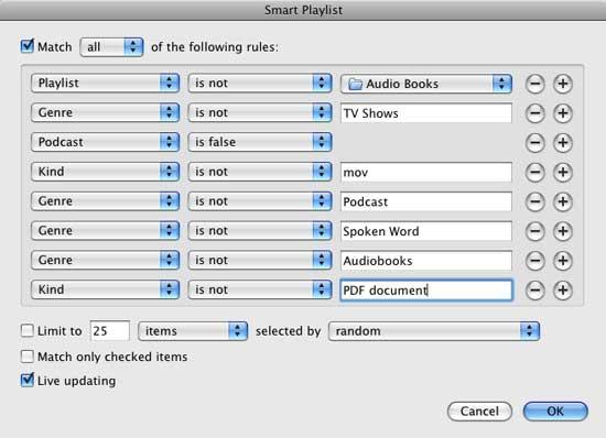 smart playlist in itunes