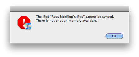 "Fix ""There is not enough memory"" error for the iPad"