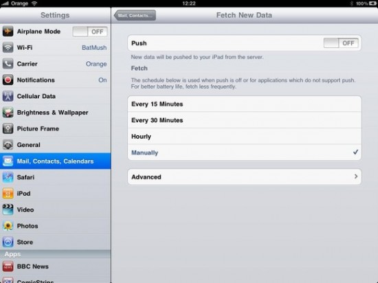 Turning off the iPad Push Mail