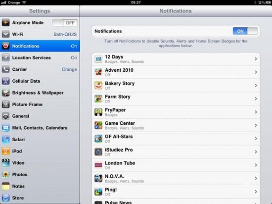 Control iPad notifications