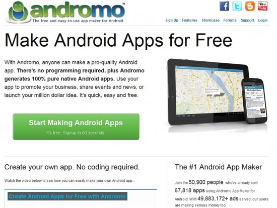 Andromo 550x414 How To Make Android Apps