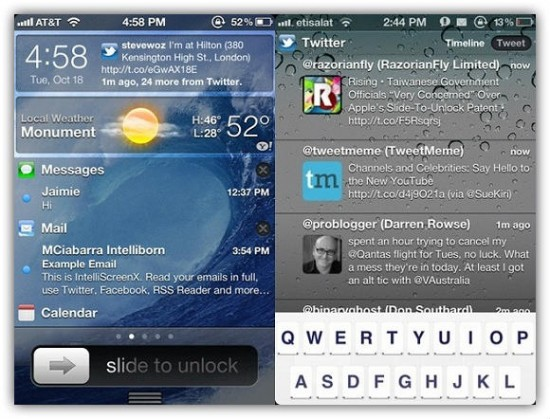 IntelliscreenX Notification Center for iOS 5