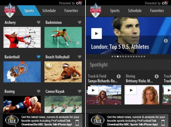 NBC Olympics Apps for iPhone and Android
