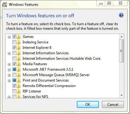 windows features off
