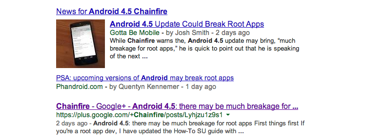 Chainfire Android 4.5 root apps Google search