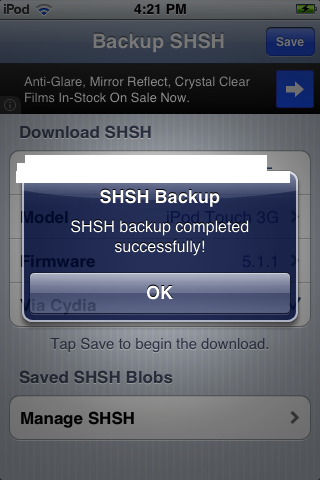 Use iSHSHit to ensure that you backup your SHSH blobs successfully