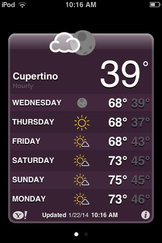 iOS 5 weather app