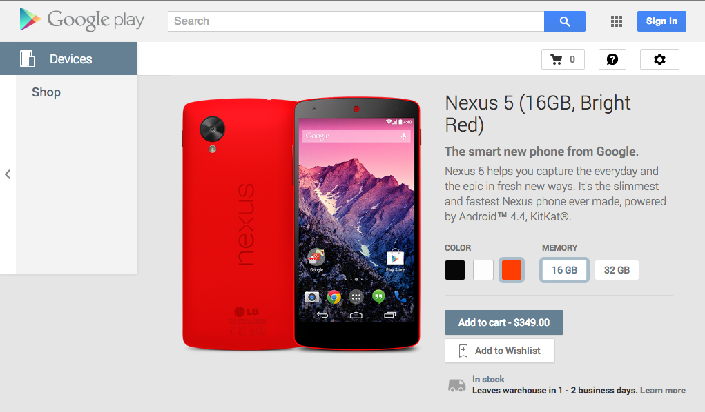 Bright red LG Nexus 5 Arrives at Google Play Store