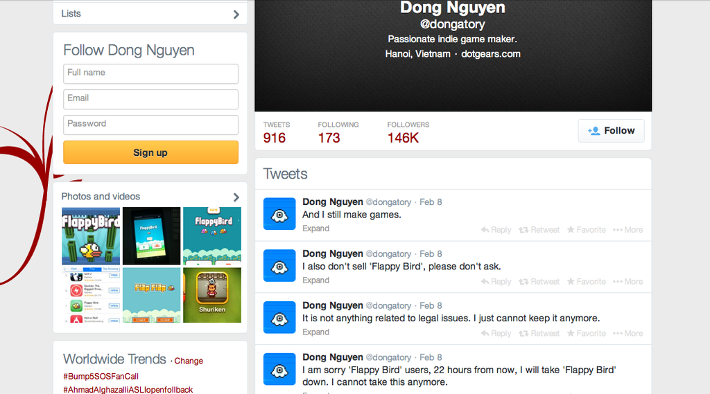 Flappy Bird Developer Dong Nguyen Twitter page