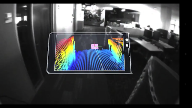 Project Tango on a smartphone, the real room surrounding