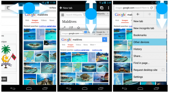 Gestures for Chrome android