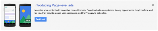 Page- level ads introduction in adsese account